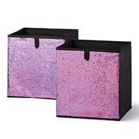Purple Reversible Sequin Collapsible Storage Cube Bins (10.5 x 10.5), 2 Pack