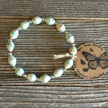 Paper Bead Bracelet, Mint Green/Cream/Coral Bead Bracelet, Paper Bead Jewelry, Stretchy Bracelet, Gift for Women,Stocking Stuffer -Item# 061