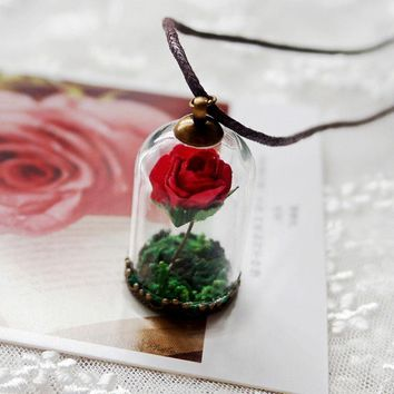 NEW!Movie Beauty and The Beast Glass Rose belle princess Valentines Romance Gift Boxed Necklace