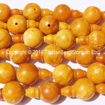 5 sets - Tibetan Amber Copal Resin Guru Bead Sets - Guru Beads & Bead Caps - 18mm - Mala Making Supplies - GB30B
