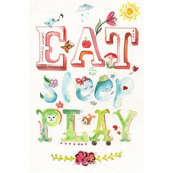 Original watercolor Painting - Eat Sleep Play - Whimsical Nursery Children Baby Art Room Deco Words