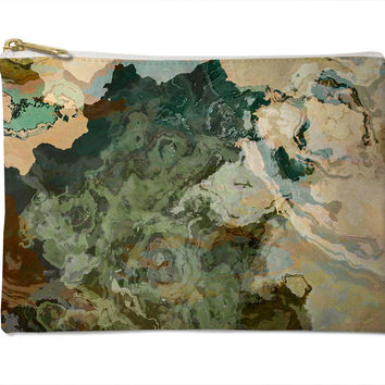 Cosmetic bag with abstract art, in brown, olive and beige, Out of It