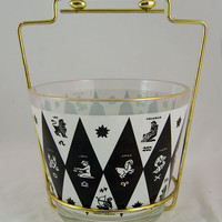 Mid Century Zodiac Ice Bucket with Caddy / Carrier - Black & White - 1960s