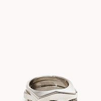 FOREVER 21 Stackable Geo Ring Set Silver/Clear 6