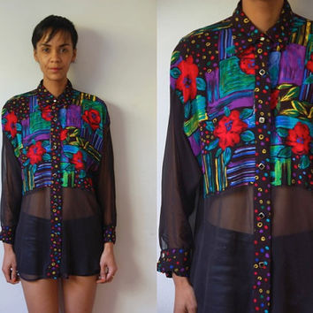 Vtg Sheer Sleeves Front & Back Mixed Print LS Button Down Shirt