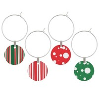 Christmas Colors Wine Glass Charm