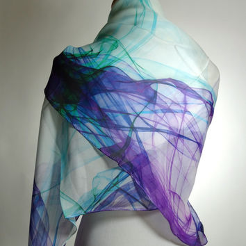 "Large Silk Chiffon Scarf - ""Ink in Water"" Purple-Aqua Lightweight Rectangular Scarf or Shawl 51x35in"