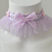 Kitten play collar - Sugar queen - ddlg princess fairy kei kawaii cute neko pet girl - lilac and pink with lace