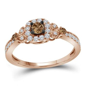 10k Rose Gold Women's Brown Diamond Solitaire Ring