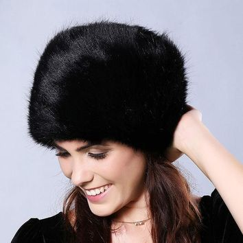 Cn Rubr Winter Women Fur Hats Thickened  Flatheaded Faux Fur Hats Winter Cap Women Gorros Mujer Invierno Gits For Beanie Women