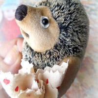 Mini teddy toy hedgehog in the fog Miniature teddy hedgehog Mini toy Stuffed hedgehog Gift for her Gift for him