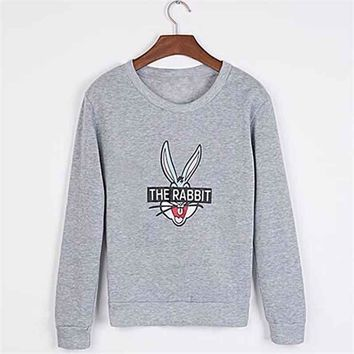 2017 New Autumn Winter Women Fashion Cute Cartoon Bugs Bunny Printed Sweatshirts Loose Casual Female Hoody Coat Hoodies