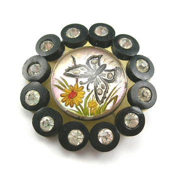 Victorian Mourning Brooch, Mine-cut Rhinestones, Reverse-painted on Glass, Butterfly and Daisy, Celluloid back, C-clasp, Turn of the Century