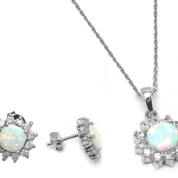.925 Sterling Silver Rhodium Plated Opal Sun Cubic Zirconia Stud Earring &  Necklace Set 18 Inch