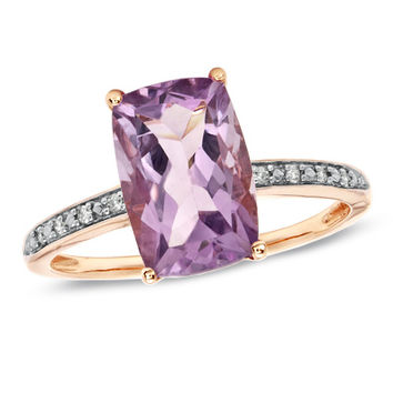 Rose de France Amethyst Ring in 10K Rose Gold with Diamond Accents