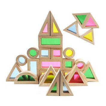 Super Creative Acrylic Rainbow Educational Toy Tower Pile of Building Blocks for Children Diy Wooden Assemblage Building Block
