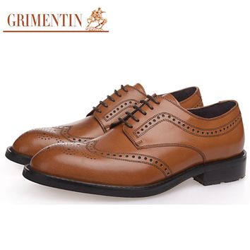 GRIMENTIN Brand wingtip oxfords men shoes genuine leather carved Italy designer mens formal shoes