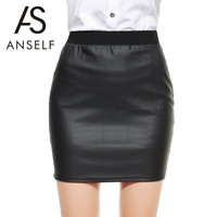 ANSELF New Fashion Women Bodycon Leather Skirt Top Quality Sexy PU Mini Short Pencil Skirts Classical Style Design Saia Black