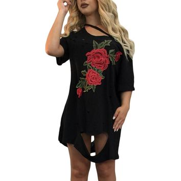 Black Ripped Destroy Rose Embroidery T-shirt Dress
