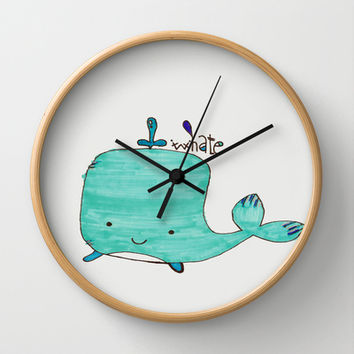 Whale you be my Valentine? Wall Clock by m3lideli | Society6