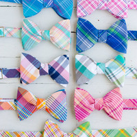 The Beau- men's freestyle preppy plaid bow ties- choose your favorite