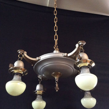 Vintage Antique Pan Chandelier Nickel Brass Accents 1920s NYLCO