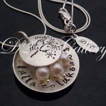 D2E hand stamped sterling silver mama bird nest necklace freshwater pearl eggs personalized