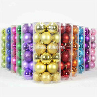 In Stock Colorful Gorgeous Glitter Powder 4cm Diameters Ball Bottled 24 Balls/Barrel Christmas Tree Decorations