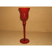 Designer Candle Holder 16in-T x 5in Red Long Stem Glass -- Used