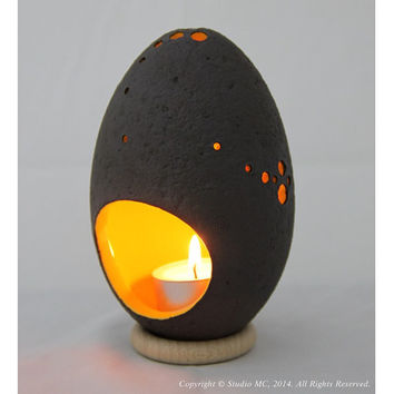 Salted Egg Ceramic Lantern - Citrus Yellow - by Robert Min Chen