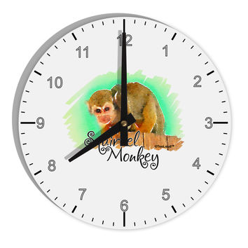 """Squirrel Monkey Watercolor Text 8"""" Round Wall Clock with Numbers"""