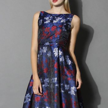 Pops of Glam Floral Prom Dress