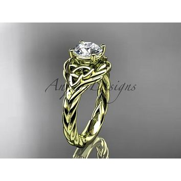 "14kt yellow gold celtic trinity twisted rope wedding ring with a ""Forever One"" Moissanite center stone RPCT9125"