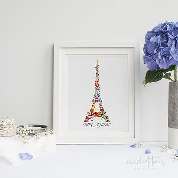 Eiffel Tower Paris, France Watercolor Art Print