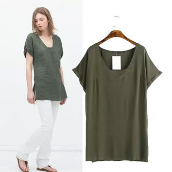 Stylish V-neck Short Sleeve Cotton Linen Women's Fashion Tops T-shirts [5013346756]