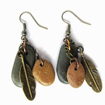 Beach Stone Earrings Brass Feather Charm River Rock Jewelry by HendysHome