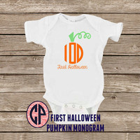 Infant Baby PUMPKIN MONOGRAM Onesuit Bodysuit First Halloween Onesuit Fall Onesuit