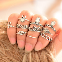 10pcs/set Vintage Beach Moon Bowknot Ring Set Ethnic Carved Antique Silver Color Boho Knuckle Charm Finger Ring Jewelry