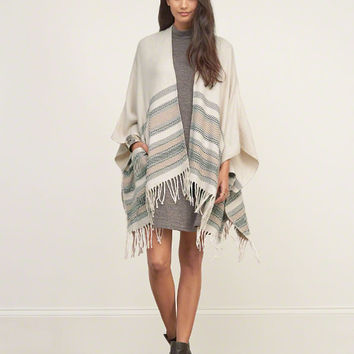 Patterned Blanket Poncho