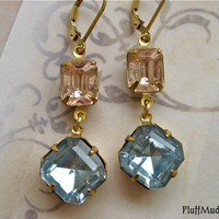 Vintage Rose and Blue Gold Fill Earrings - Summer Breeze