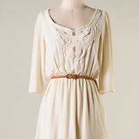 Inner Peace Crochet Detailed 3/4 Sleeve Dress in Cream | Sincerely Sweet Boutique