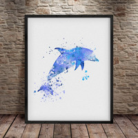 Dolphin Art, Home Art Poster, Wall Decor, Dolphin Poster, Dolphin watercolor Print, Animal Wall Art, Watercolor Art, Watercolor Print  -a21