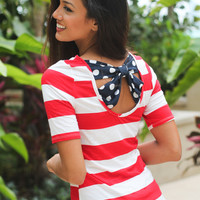 Red, White and Navy Top with Back Bow