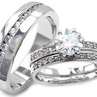 Jessica's Collection His & Hers Stainless Steel 3 piece CZ Wedding Ring Set