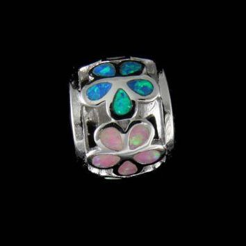INLAY TRICOLOR OPAL HAWAIIAN PLUMERIA BARREL TUBE SLIDE PENDANT SOLID SILVER 925