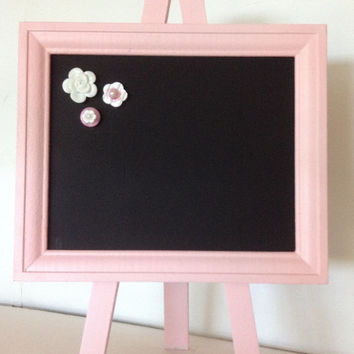 Chalkboard MAGNET Frame Table top easel UPCYCLED - Pink Picture Frame Nursery Baby Party Home Decor Gift Chalk board made with Sheet Metal