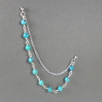 Natural Turquoise Double Piercing Cartilage Earring With Chain In Sterling Silver 925 Single Earring
