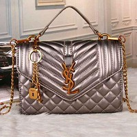 YSL Yves Saint Laurent Women Fashion Leather Chain Bag Tote Bag F