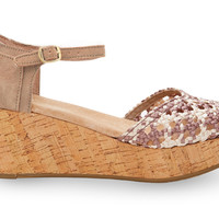 TOMS Stucco Satin Woven Women's Platform Wedges Brown
