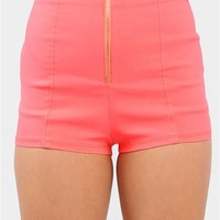 Zip Front Mini Shorts - Neon Coral